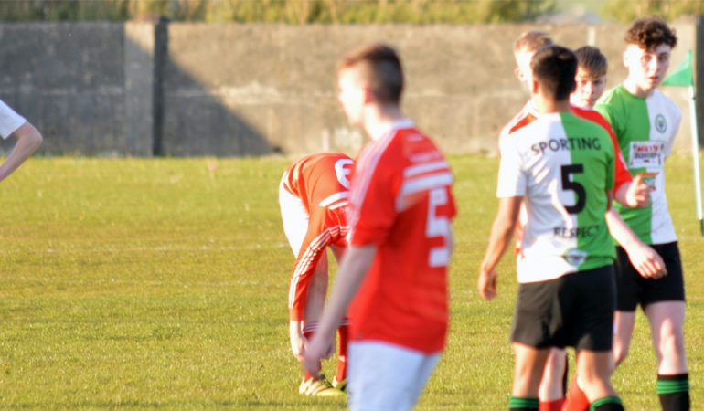 Sporting Ennistymon Player's Ixim Hernandez, Killian O'Connor and Niall Hogan shake hands with their Newmarket opposition