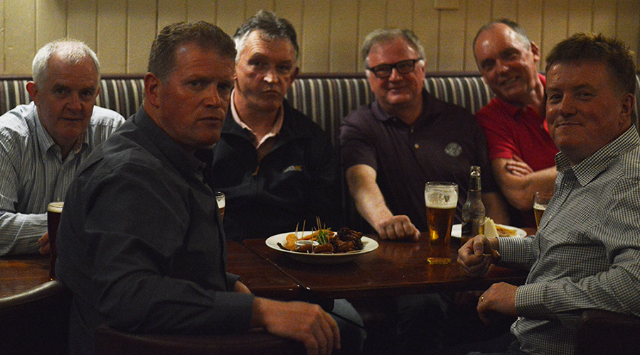 Ennistymon Celtic Reunion. Pictured are from left to right are : T.J Carey, Vinny Leigh, Enda Haran, Dinny Cullinan and Gerry Sadlier.