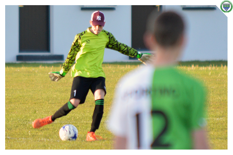 Cathal Hegarty kicks the ball out while playing against Newmarket Celtic in their 3-2 Cup win.