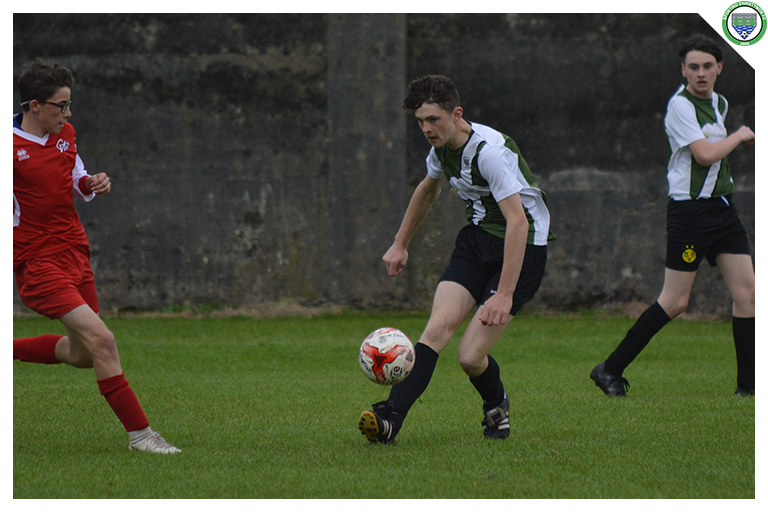 Sean McMahon plays a Crossfield ball in the game between Sporting Ennistymon Football Club and Lifford Association Football Club. Game played on the 13th of September 2018 in Lahinch Sportsfield.