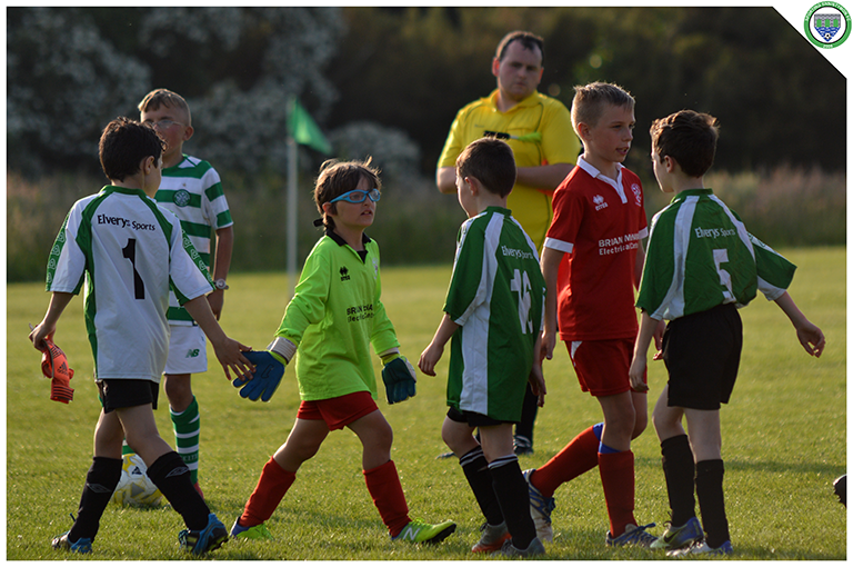 Sporting Ennistymon and Newmarket Celtic's U10s shaking hands at the end of the game. Game played in C.B.S Ennistymon.