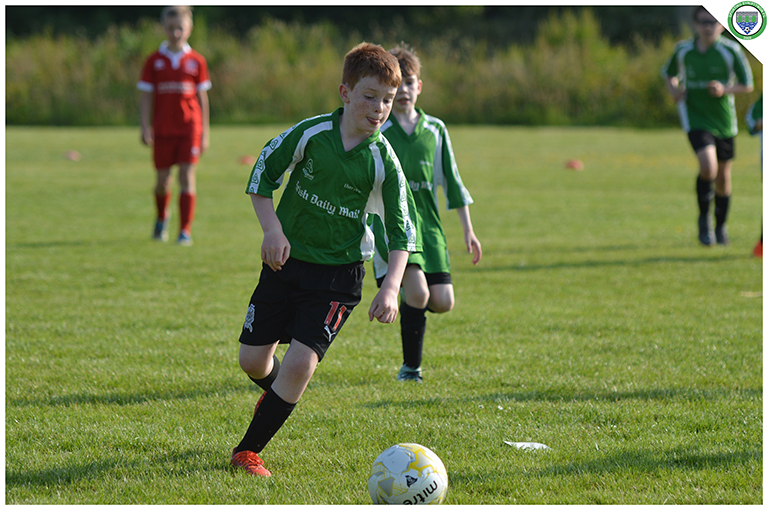 Eamonn Devaney readies himself to shoot in the U10 game versus Newmarket Celtic in the C.B.S Ennistymon.