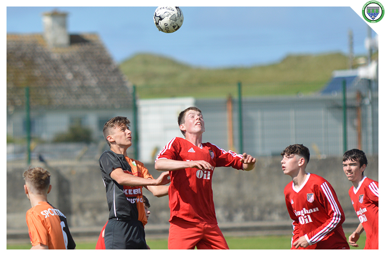 Mikolay Augustn competes for a header under pressure from a Burren United player in the game between Sporting Ennistymon Football Club and Burren United Football Club. Game played on the 25th of August 2018 in Lahinch Sportsfield.