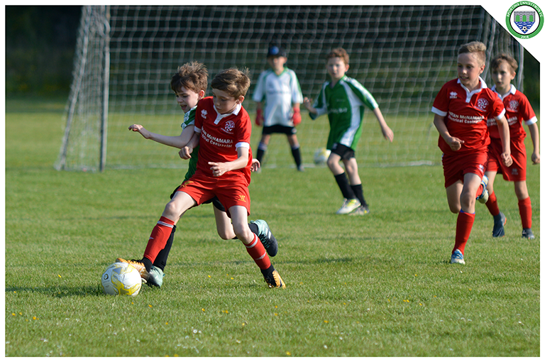 Daniel Keenagh fights for the ball during the U10 game versus Newmarket Celtic in C.B.S Ennistymon.