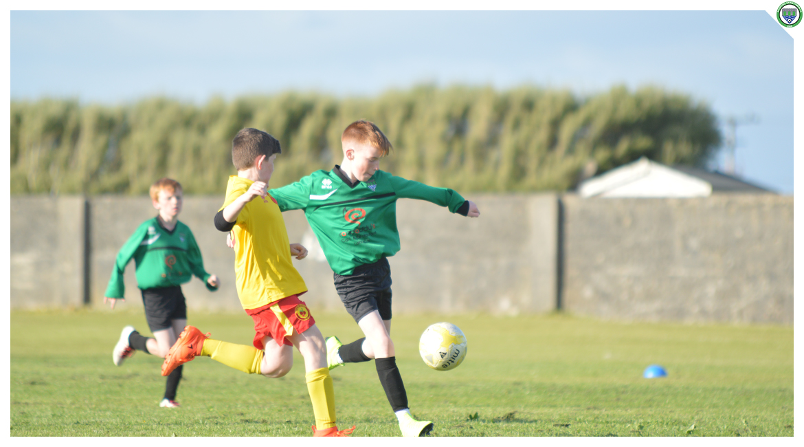 Eoin Devanney shoots towards goal in the U12 game between Sporting Ennistymon Football Club and Avenue United Football Club. Game played in Lahinch Sportsfield on the 11th of June 2019.