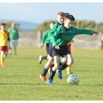 Ultan McDonagh shoots in the U12 game between Sporting Ennistymon Football Club and Avenue United Football Club. Game played in Lahinch Sportsfield on the 11th of June 2019.