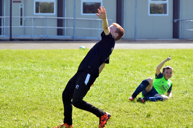 Darren O'Brien attempts a bicycle kick during Sporting Ennistymon F.C FAI Summer Camp 2020