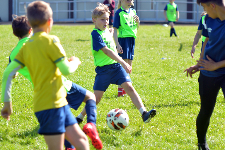 Hugo Roberts crosses the ball during Sporting Ennistymon F.C FAI Summer Camp 2020