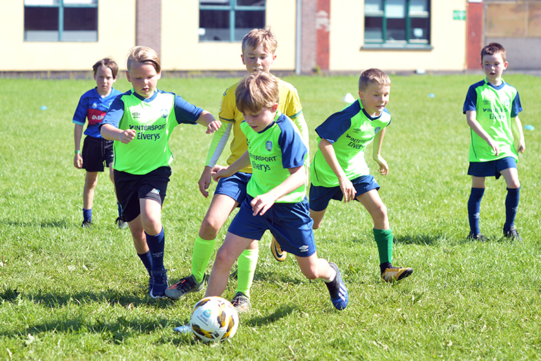 Players attempt to score during Sporting Ennistymon F.C FAI Summer Camp 2020