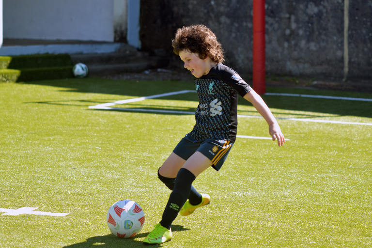 Patrick Shannon takes a shot during Sporting Ennistymon F.C FAI Summer Camp 2020