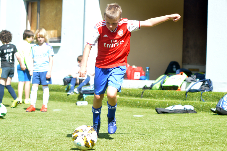 Killian O'Neil takes a shot during Sporting Ennistymon F.C FAI Summer Camp 2020