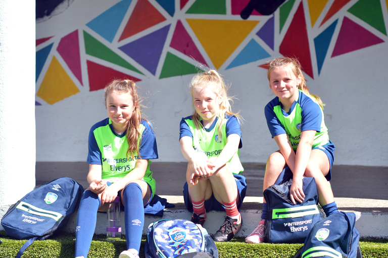 Sophia Hassett, Sadbh Fitzgerald, Sophie Bermingham pose for a photo during Sporting Ennistymon F.C FAI Summer Camp 2020