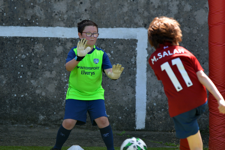 Jack O'Brien attempts to save a shot during Sporting Ennistymon F.C FAI Summer Camp 2020