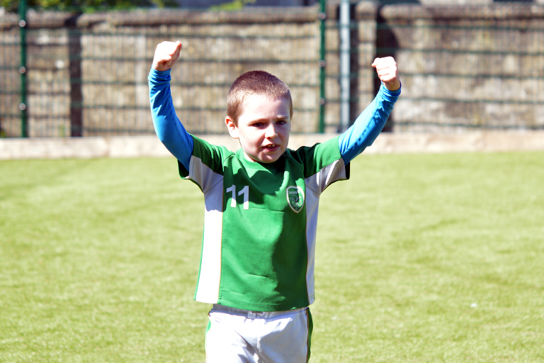 Darragh Talty celebrates a goal during Sporting Ennistymon F.C FAI Summer Camp 2020