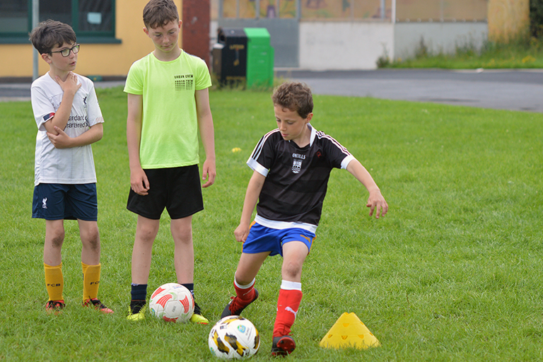 Cillian Curran shoots during Sporting Ennistymon F.C FAI Summer Camp 2020