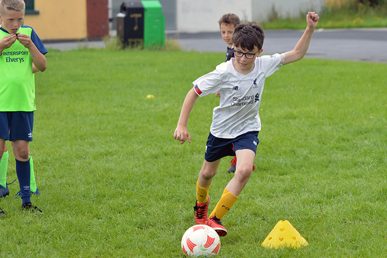 Dylan Lysaght shoots during Sporting Ennistymon F.C FAI Summer Camp 2020