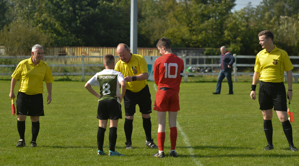 Captain, Daniel Brody calls the toss before the U13 Division 2 Cup Final between Sporting Ennistymon F.C and Lifford A.F.C in Frank Healy Park.