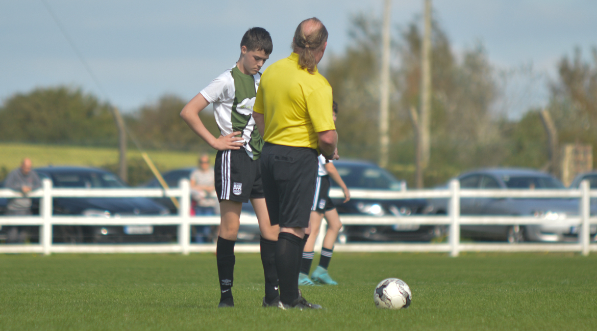 Jack Gallagher stands over a free kick during the U13 Division 2 Cup Final between Sporting Ennistymon F.C and Lifford A.F.C in Frank Healy Park.