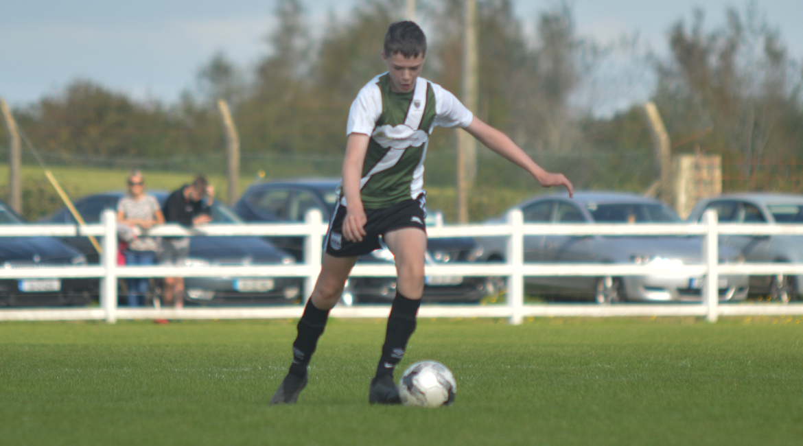 Jack Gallagher takes a free-kick during the U13 Division 2 Cup Final between Sporting Ennistymon F.C and Lifford A.F.C in Frank Healy Park.