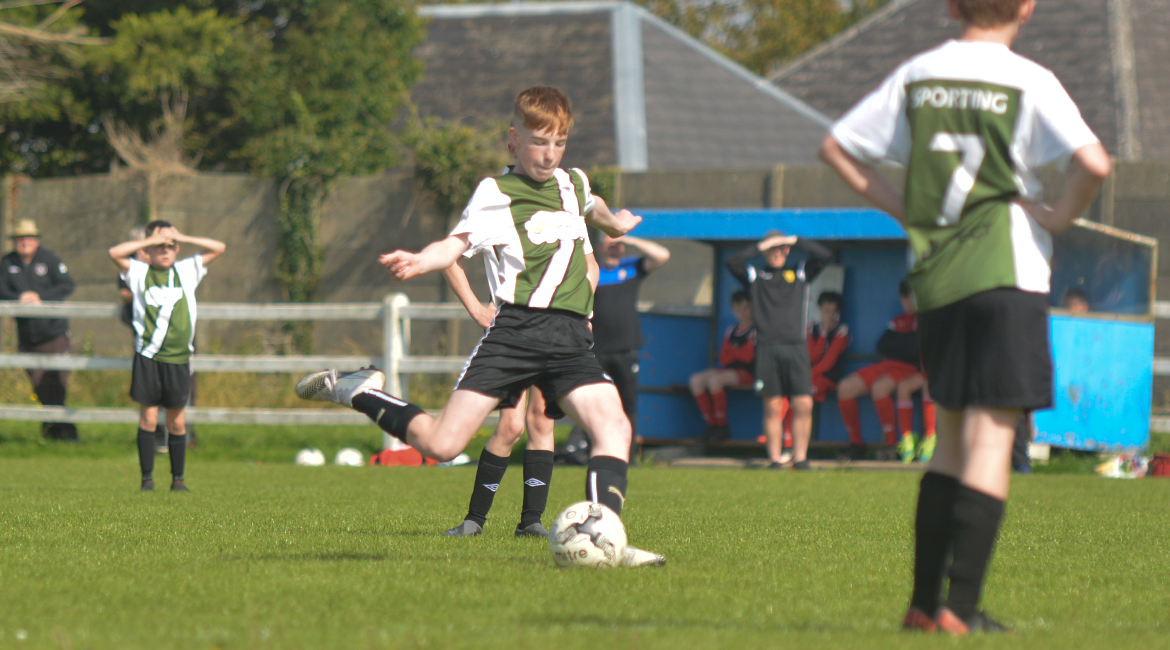 Eoin Devanney takes a free-kick during the U13 Division 2 Cup Final between Sporting Ennistymon F.C and Lifford A.F.C in Frank Healy Park.