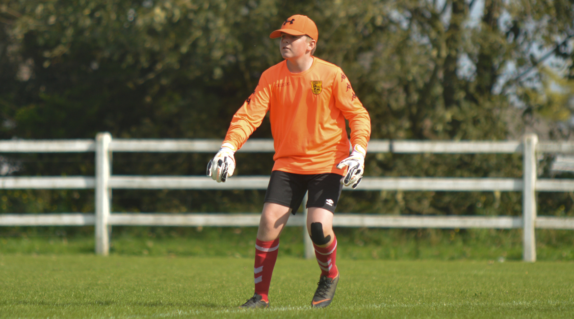 The Lifford AFC Goalkeeper kicks the ball out during the U13 Division 2 Cup Final between Sporting Ennistymon F.C and Lifford A.F.C in Frank Healy Park.