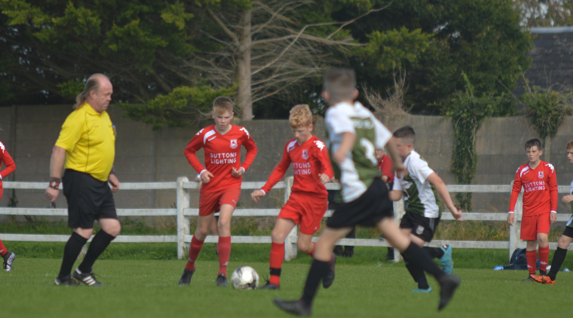 A Lifford AFC player looks to play a pass during the U13 Division 2 Cup Final between Sporting Ennistymon F.C and Lifford A.F.C in Frank Healy Park.