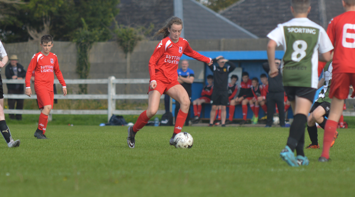 A Lifford AFC player in possession during the U13 Division 2 Cup Final between Sporting Ennistymon F.C and Lifford A.F.C in Frank Healy Park.